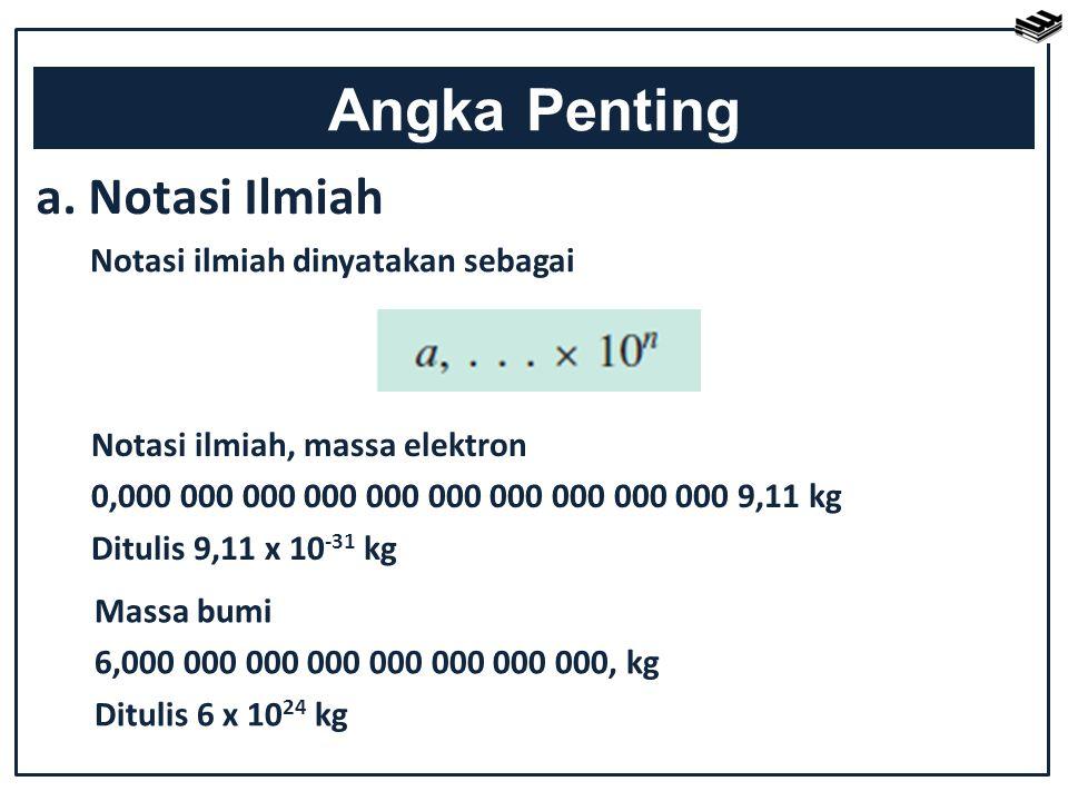 Notasi ilmiah, massa elektron 0,000 000 000 000 000 000 000 000 000 000 9,11 kg Ditulis 9,11 x 10 -31 kg Angka Penting a. Notasi Ilmiah Notasi ilmiah