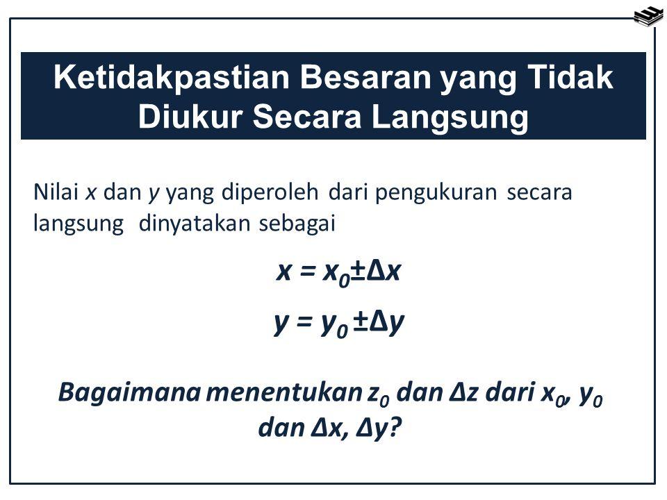 Nilai x dan y yang diperoleh dari pengukuran secara langsung dinyatakan sebagai x = x 0 ±Δx y = y 0 ±Δy Ketidakpastian Besaran yang Tidak Diukur Secar