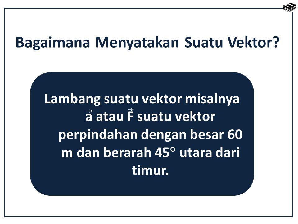 Bagaimana Menyatakan Suatu Vektor? Lambang suatu vektor misalnya a atau F suatu vektor perpindahan dengan besar 60 m dan berarah 45  utara dari timur