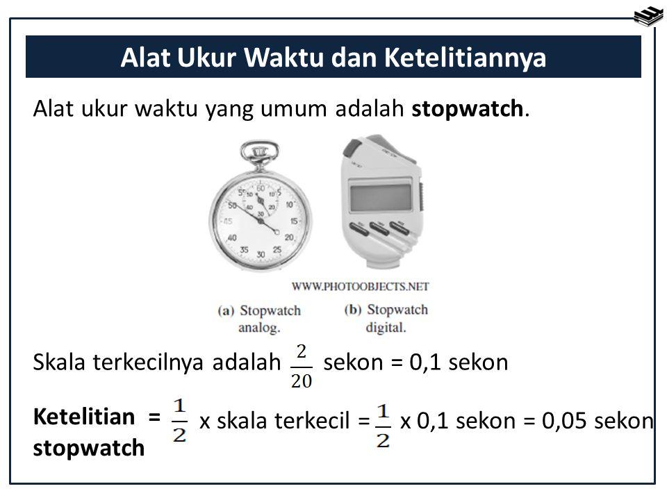 Alat ukur waktu yang umum adalah stopwatch. Ketelitian = stopwatch x skala terkecil = x 0,1 sekon = 0,05 sekon Alat Ukur Waktu dan Ketelitiannya Skala