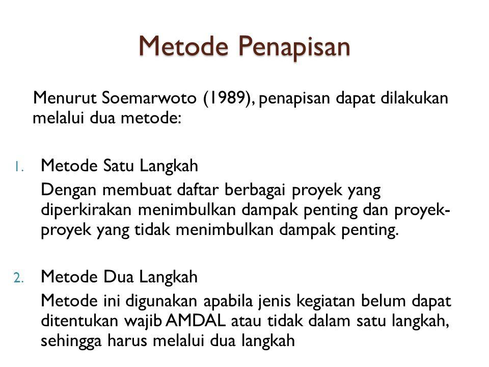 Metode Penapisan Menurut Soemarwoto (1989), penapisan dapat dilakukan melalui dua metode: 1.
