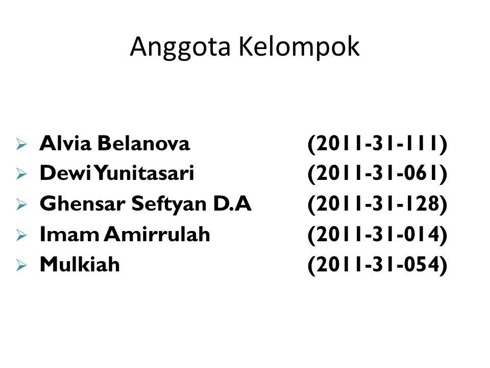 Anggota Kelompok  Alvia Belanova(2011-31-111)  Dewi Yunitasari(2011-31-061)  Ghensar Seftyan D.A(2011-31-128)  Imam Amirrulah(2011-31-014)  Mulkiah(2011-31-054)