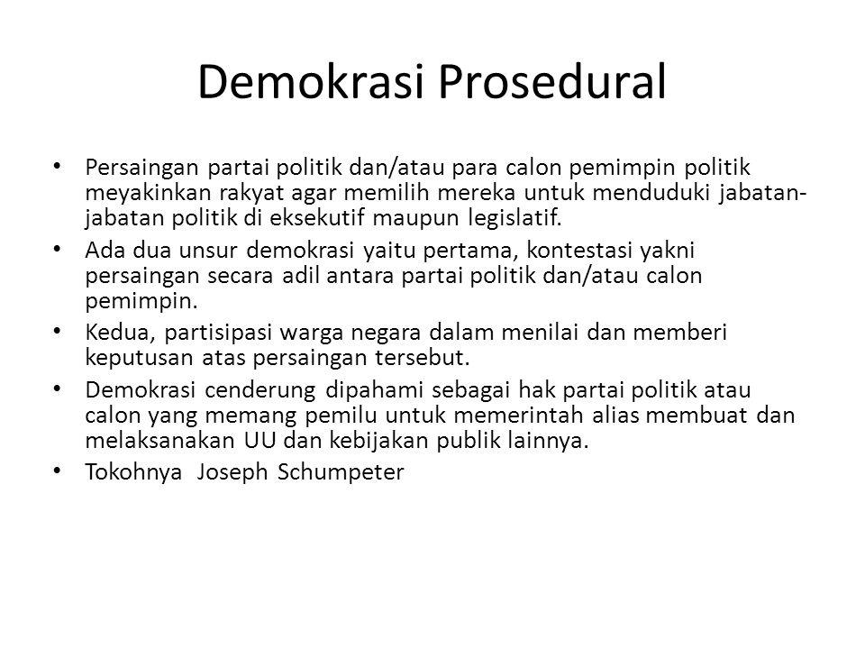 Demokrasi Agregatif Demokrasi tdk hanya soal keikutsertaan dalam pemilu tetapi terutama cita-cita,pendapat, preferensi dan penilaian warga menentukan isi UU, kebijakan dan tindakan publik lainnya.