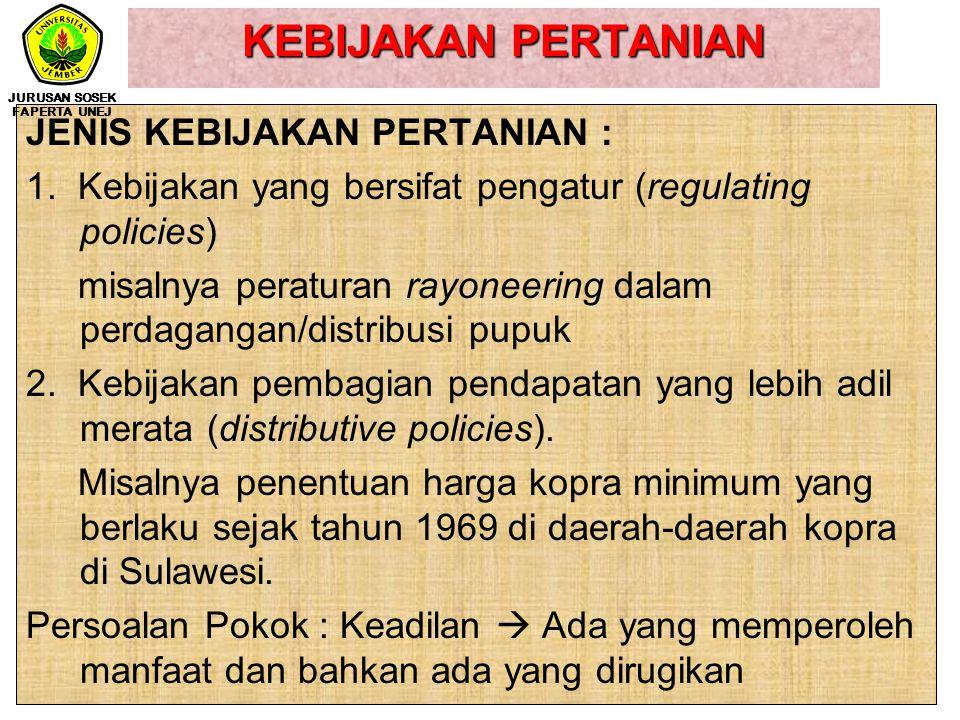 KEBIJAKAN PERTANIAN WUJUD KEBIJAKAN PERTANIAN : Kebijakan diwujudkan dengan mengeluarkan peraturan-peraturan tertentu yang berbentuk Undang-undang, Pe