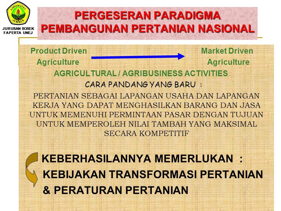 Arah kebijakan umum yang ditempuh dalam pembangunan pertanian a. Membangun basis bagi partisipasi petani; b. Meningkatkan potensi basis produksi dan s