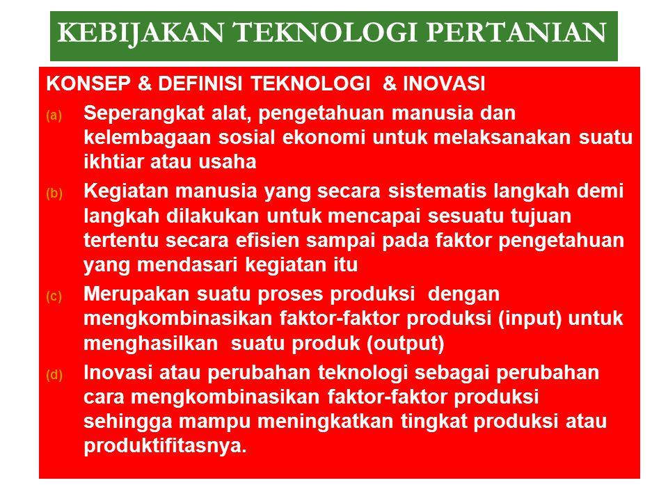 KEBIJAKAN TEKNOLOGI PERTANIAN KONSEP & DEFINISI TEKNOLOGI & INOVASI Kata teknologi berasal dari bahasa Yunani technología (τεχνολογία) ‐ TECHNE (τέχνη
