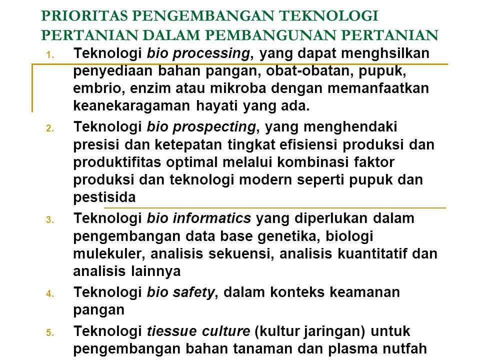 ARAH KEBIJAKAN TEKNOLOGI PERTANIAN DALAM PEMBANGUNAN PERTANIAN 5. Peningkatan teknologi informasi untuk memperoleh informasi pasar dan promosi produk