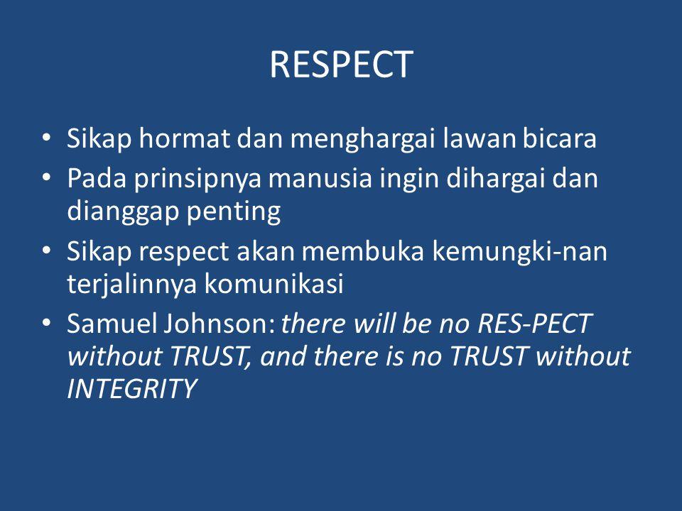 RESPECT Sikap hormat dan menghargai lawan bicara Pada prinsipnya manusia ingin dihargai dan dianggap penting Sikap respect akan membuka kemungki-nan t