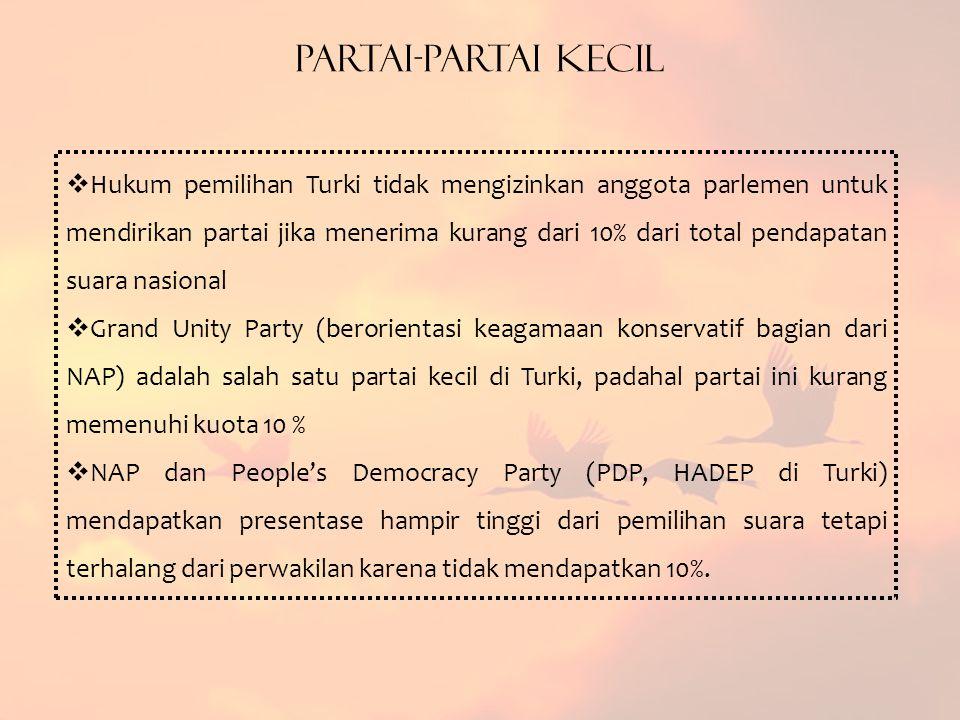 Partai-Partai Kecil  Hukum pemilihan Turki tidak mengizinkan anggota parlemen untuk mendirikan partai jika menerima kurang dari 10% dari total pendapatan suara nasional  Grand Unity Party (berorientasi keagamaan konservatif bagian dari NAP) adalah salah satu partai kecil di Turki, padahal partai ini kurang memenuhi kuota 10 %  NAP dan People's Democracy Party (PDP, HADEP di Turki) mendapatkan presentase hampir tinggi dari pemilihan suara tetapi terhalang dari perwakilan karena tidak mendapatkan 10%.