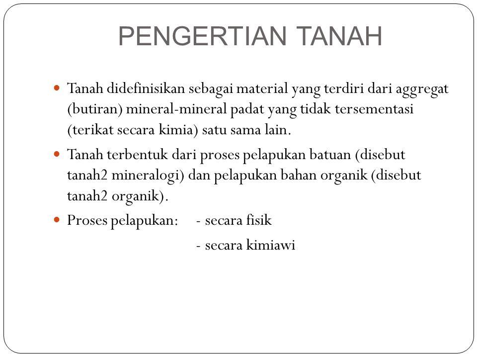 PENGERTIAN TANAH Tanah didefinisikan sebagai material yang terdiri dari aggregat (butiran) mineral-mineral padat yang tidak tersementasi (terikat seca