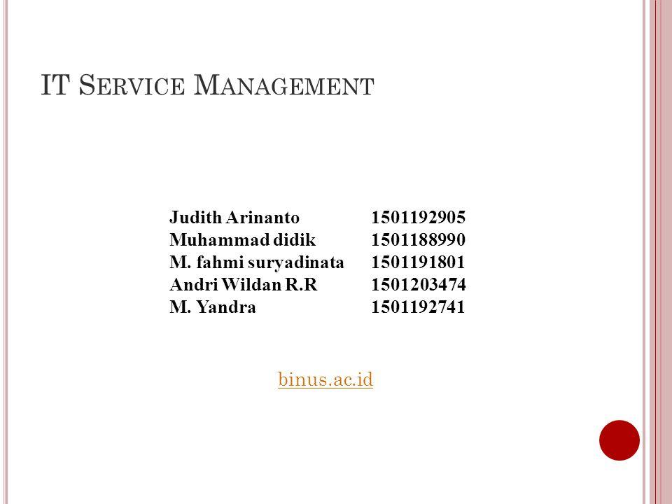 IT S ERVICE M ANAGEMENT Judith Arinanto1501192905 Muhammad didik1501188990 M.