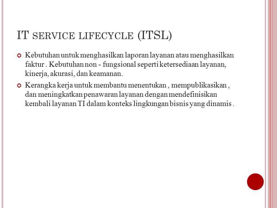 IT SERVICE LIFECYCLE (ITSL) Kebutuhan untuk menghasilkan laporan layanan atau menghasilkan faktur.