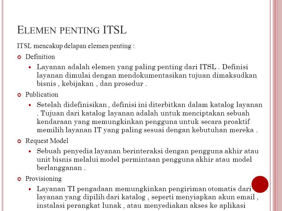 E LEMEN PENTING ITSL ITSL mencakup delapan elemen penting : Definition Layanan adalah elemen yang paling penting dari ITSL.