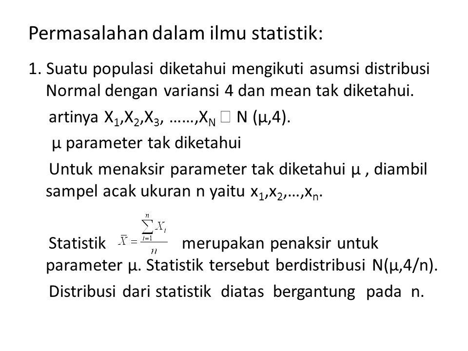 Permasalahan dalam ilmu statistik: 1. Suatu populasi diketahui mengikuti asumsi distribusi Normal dengan variansi 4 dan mean tak diketahui. artinya X