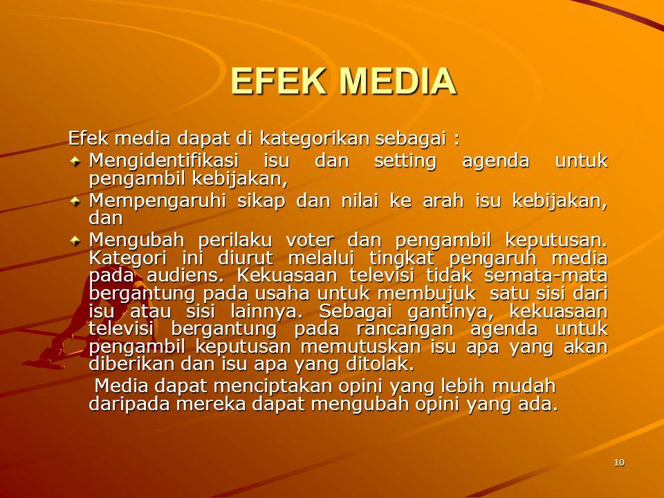 10 EFEK MEDIA Efek media dapat di kategorikan sebagai : Mengidentifikasi isu dan setting agenda untuk pengambil kebijakan, Mempengaruhi sikap dan nilai ke arah isu kebijakan, dan Mengubah perilaku voter dan pengambil keputusan.