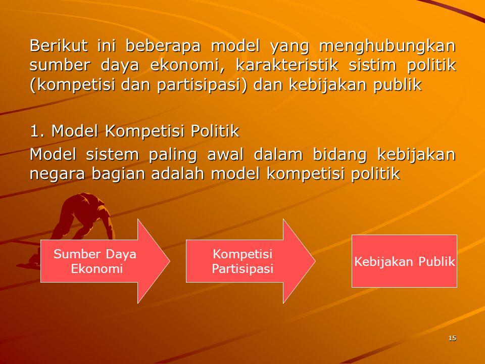 15 Berikut ini beberapa model yang menghubungkan sumber daya ekonomi, karakteristik sistim politik (kompetisi dan partisipasi) dan kebijakan publik 1.