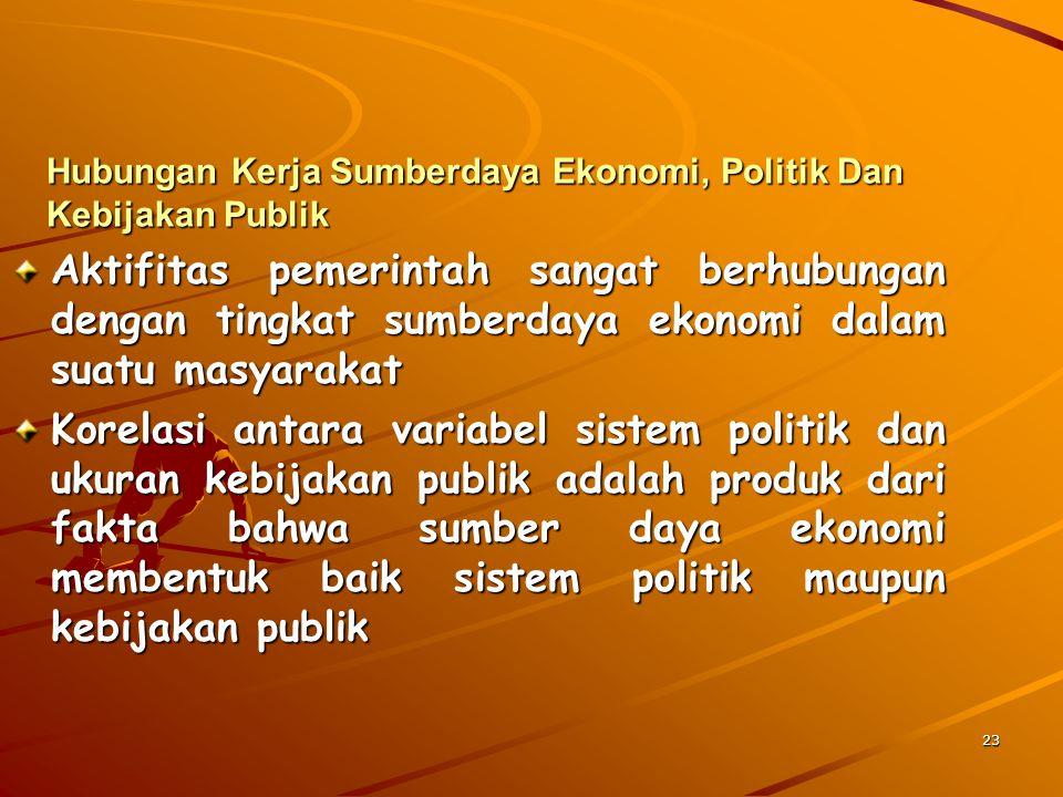 23 Hubungan Kerja Sumberdaya Ekonomi, Politik Dan Kebijakan Publik Aktifitas pemerintah sangat berhubungan dengan tingkat sumberdaya ekonomi dalam sua