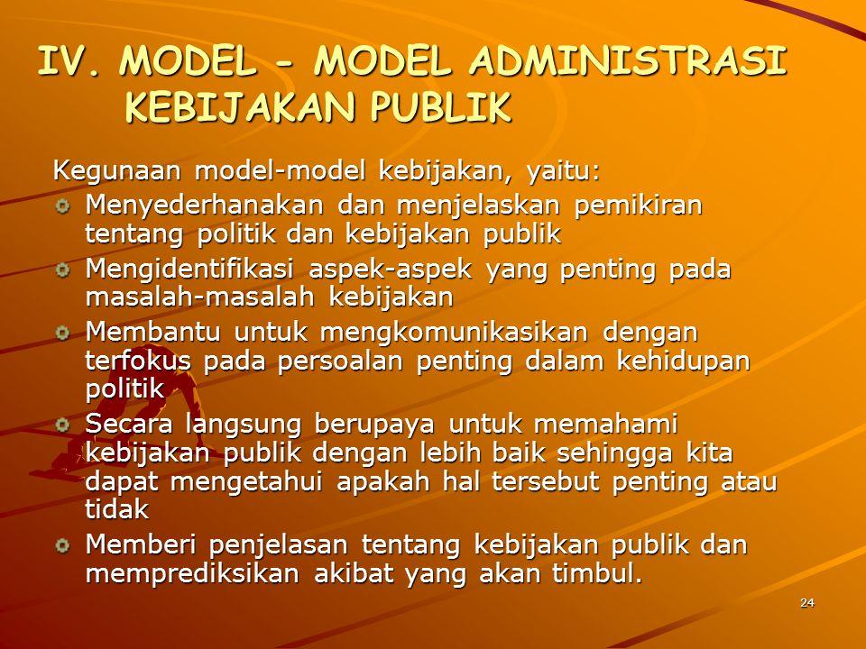 IV. MODEL - MODEL ADMINISTRASI KEBIJAKAN PUBLIK Kegunaan model-model kebijakan, yaitu: Menyederhanakan dan menjelaskan pemikiran tentang politik dan k