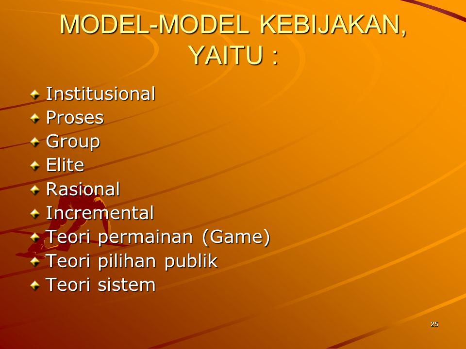 MODEL-MODEL KEBIJAKAN, YAITU : InstitusionalProsesGroupEliteRasionalIncremental Teori permainan (Game) Teori pilihan publik Teori sistem 25