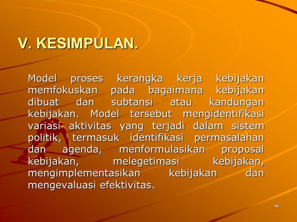 46 V. KESIMPULAN. Model proses kerangka kerja kebijakan memfokuskan pada bagaimana kebijakan dibuat dan subtansi atau kandungan kebijakan. Model terse