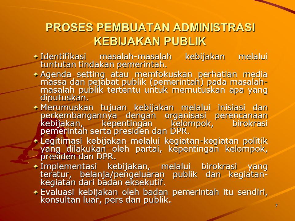 7 PROSES PEMBUATAN ADMINISTRASI KEBIJAKAN PUBLIK Identifikasi masalah-masalah kebijakan melalui tuntutan tindakan pemerintah. Agenda setting atau memf