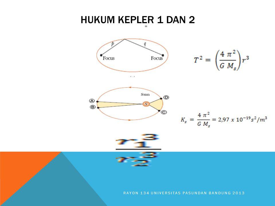 HUKUM KEPLER 1 DAN 2 RAYON 134 UNIVERSITAS PASUNDAN BANDUNG 2013 =