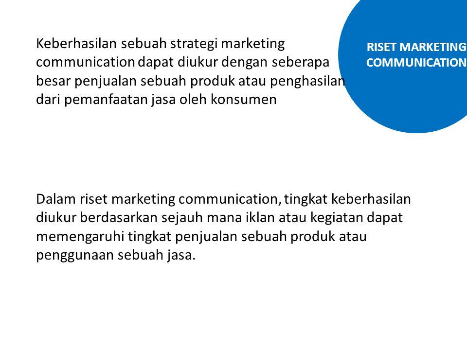 RISET MARKETING COMMUNICATION Keberhasilan sebuah strategi marketing communication dapat diukur dengan seberapa besar penjualan sebuah produk atau pen