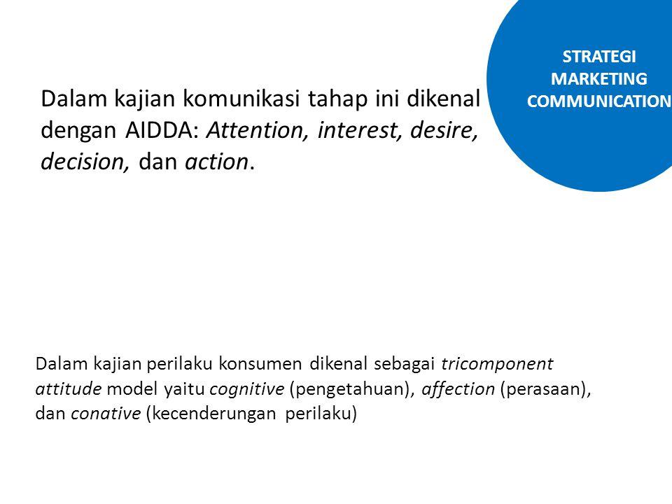 Dalam kajian komunikasi tahap ini dikenal dengan AIDDA: Attention, interest, desire, decision, dan action. Dalam kajian perilaku konsumen dikenal seba