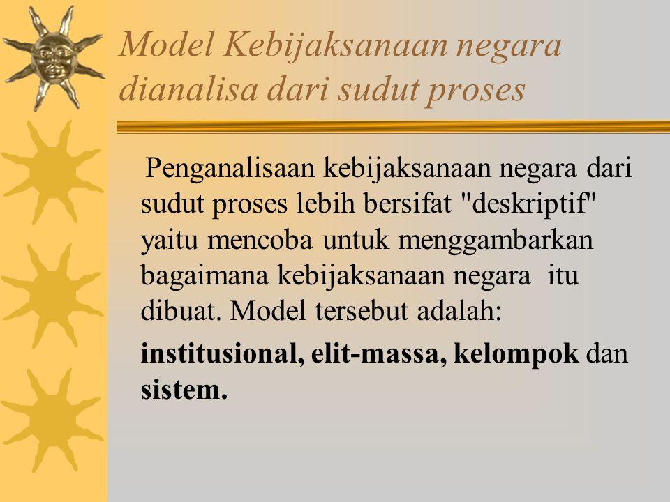 Model-model kebijakan publik Model yang dikemukakan oleh Nicholas Henry, berdasarkan analisa model yang dikemukakan oleh R.Dye ia telah mengelompokkan