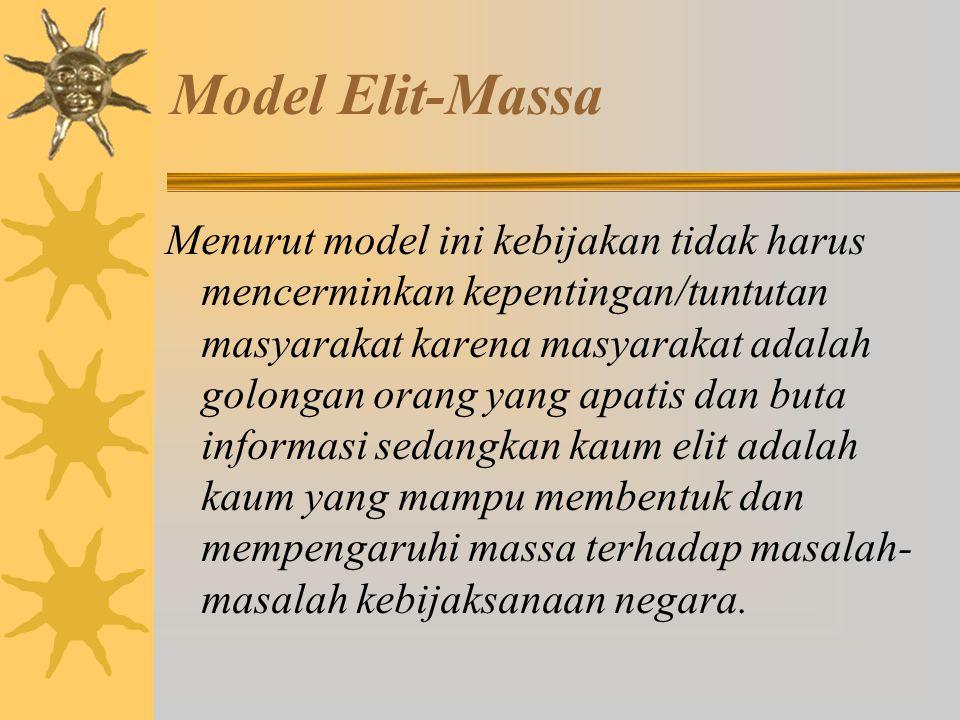 Model Elit-Massa Model ini memandang administrator negara bukan sebagai