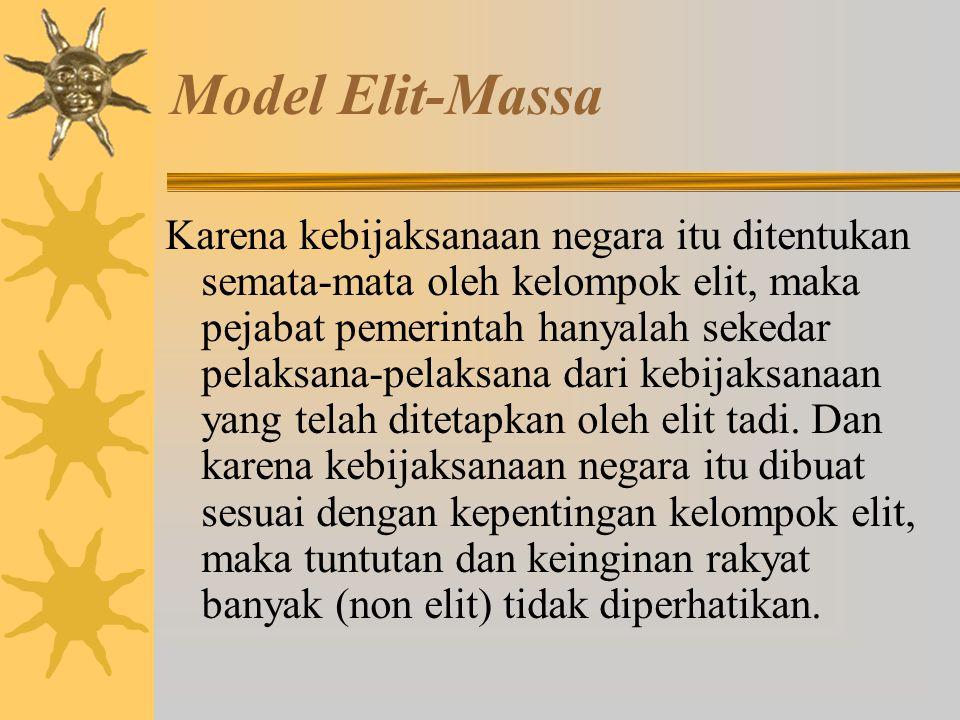 Model Elit-Massa Menurut model ini kebijakan tidak harus mencerminkan kepentingan/tuntutan masyarakat karena masyarakat adalah golongan orang yang apa