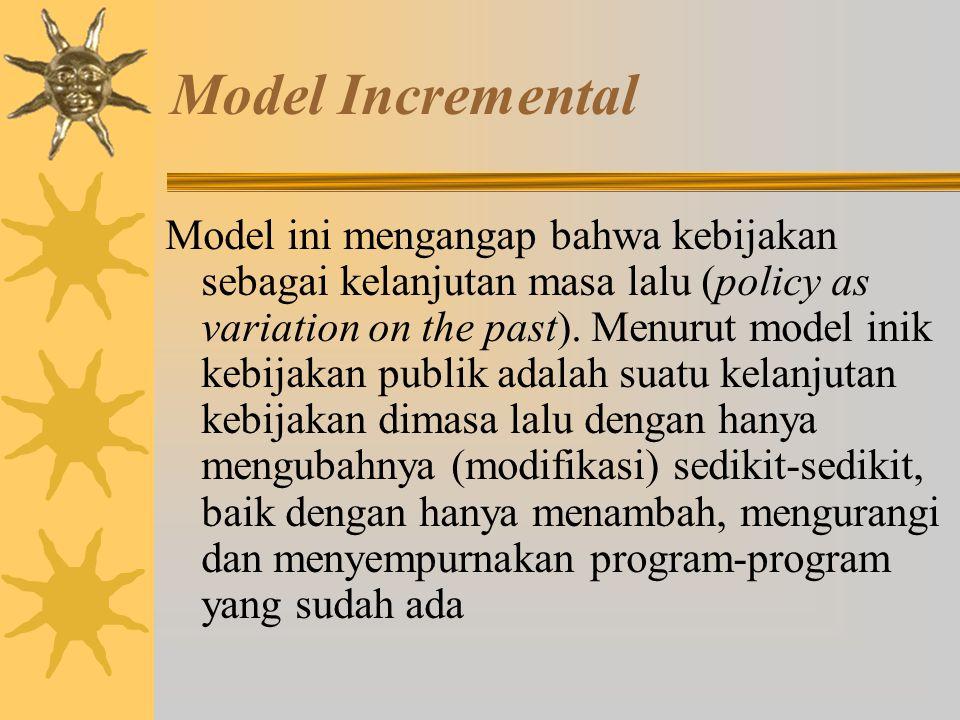 Model Rationale Comprehensive Model ini beranggapan kebijakan sebagai pencapaian tujuan yang efisien (policy as efficient goal achievement). Model ini