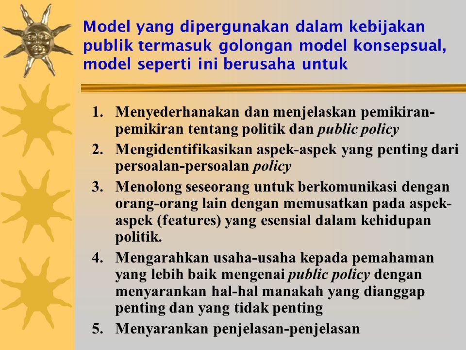 Model yang dipergunakan dalam kebijakan publik termasuk golongan model konsepsual, model seperti ini berusaha untuk 1.Menyederhanakan dan menjelaskan pemikiran- pemikiran tentang politik dan public policy 2.Mengidentifikasikan aspek-aspek yang penting dari persoalan-persoalan policy 3.Menolong seseorang untuk berkomunikasi dengan orang-orang lain dengan memusatkan pada aspek- aspek (features) yang esensial dalam kehidupan politik.