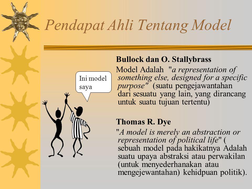 Model Incremental Model ini mengangap bahwa kebijakan sebagai kelanjutan masa lalu (policy as variation on the past).