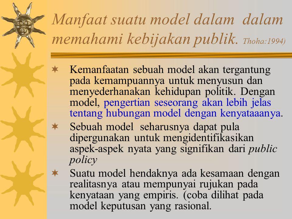 Model Elit-Massa Karena kebijaksanaan negara itu ditentukan semata-mata oleh kelompok elit, maka pejabat pemerintah hanyalah sekedar pelaksana-pelaksana dari kebijaksanaan yang telah ditetapkan oleh elit tadi.