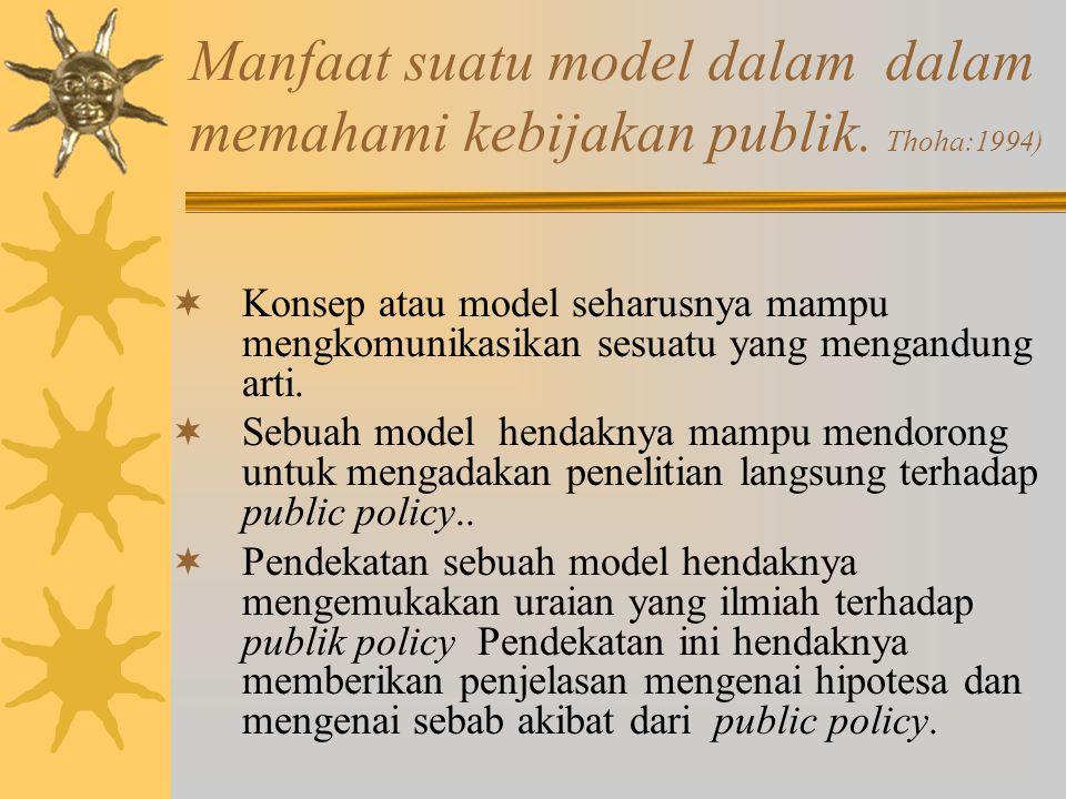 Manfaat suatu model dalam dalam memahami kebijakan publik. Thoha:1994)  Kemanfaatan sebuah model akan tergantung pada kemampuannya untuk menyusun dan