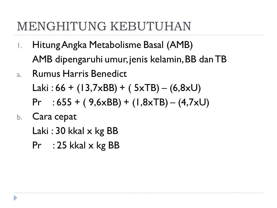 MENGHITUNG KEBUTUHAN 1. Hitung Angka Metabolisme Basal (AMB) AMB dipengaruhi umur, jenis kelamin, BB dan TB a. Rumus Harris Benedict Laki : 66 + (13,7
