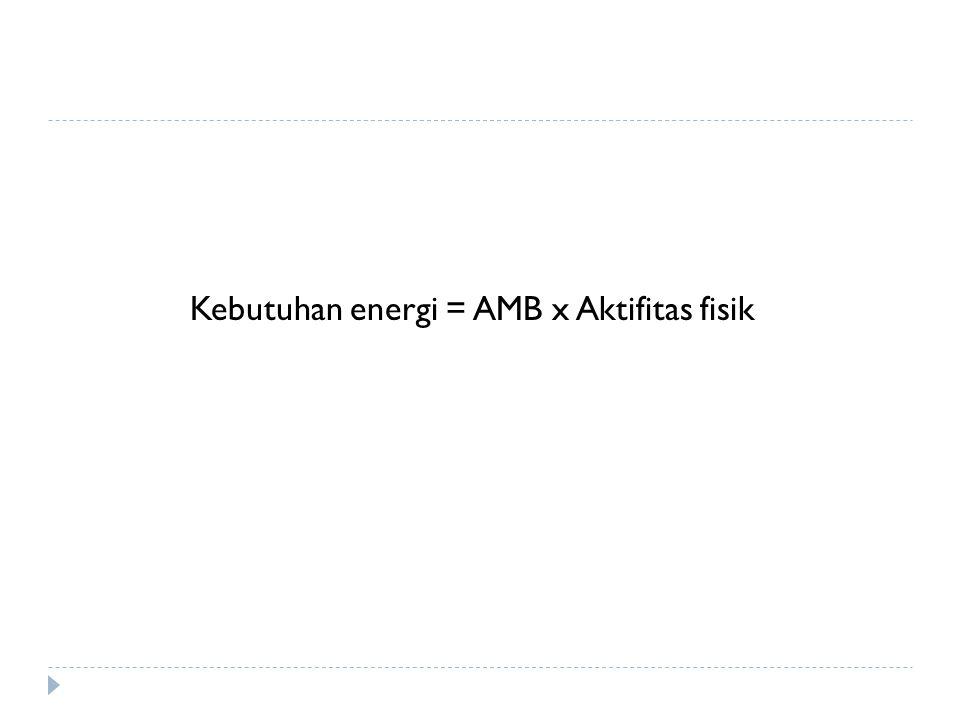 Kebutuhan energi = AMB x Aktifitas fisik