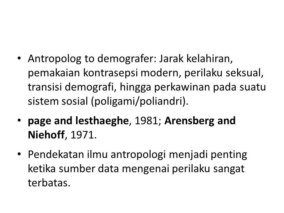 Antropolog to demografer: Jarak kelahiran, pemakaian kontrasepsi modern, perilaku seksual, transisi demografi, hingga perkawinan pada suatu sistem sosial (poligami/poliandri).