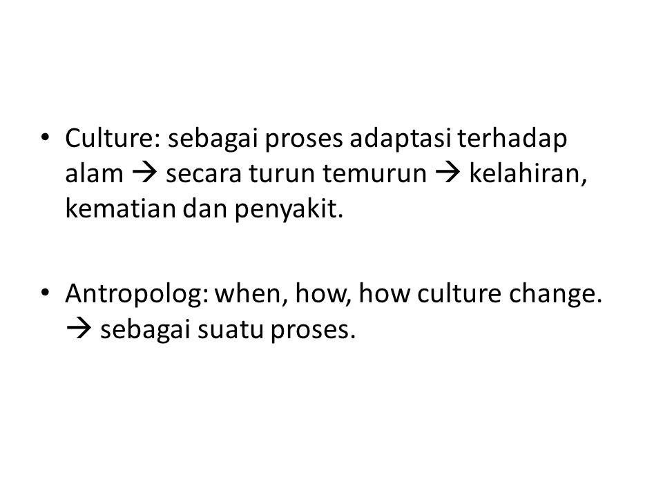 Culture: sebagai proses adaptasi terhadap alam  secara turun temurun  kelahiran, kematian dan penyakit.