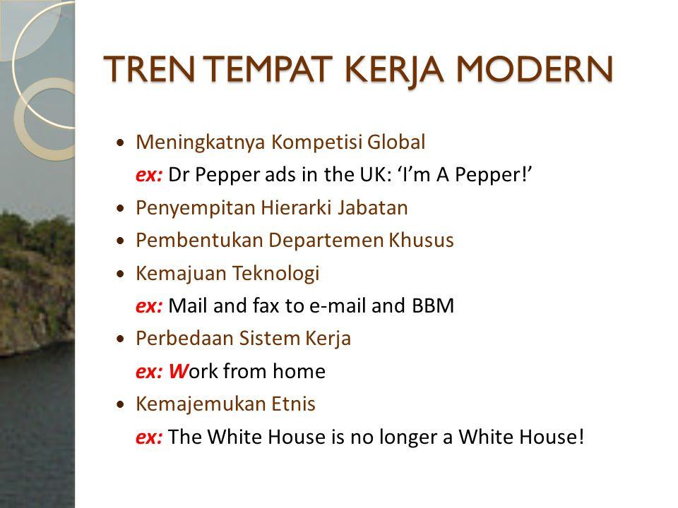 TREN TEMPAT KERJA MODERN Meningkatnya Kompetisi Global ex: Dr Pepper ads in the UK: 'I'm A Pepper!' Penyempitan Hierarki Jabatan Pembentukan Departeme