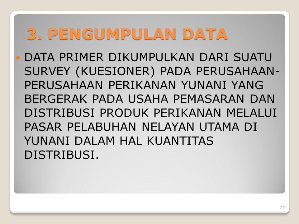 3. PENGUMPULAN DATA DATA PRIMER DIKUMPULKAN DARI SUATU SURVEY (KUESIONER) PADA PERUSAHAAN- PERUSAHAAN PERIKANAN YUNANI YANG BERGERAK PADA USAHA PEMASA