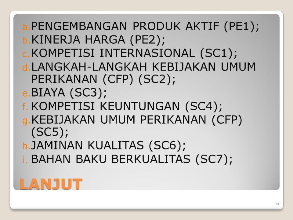 LANJUT a. PENGEMBANGAN PRODUK AKTIF (PE1); b. KINERJA HARGA (PE2); c. KOMPETISI INTERNASIONAL (SC1); d. LANGKAH-LANGKAH KEBIJAKAN UMUM PERIKANAN (CFP)