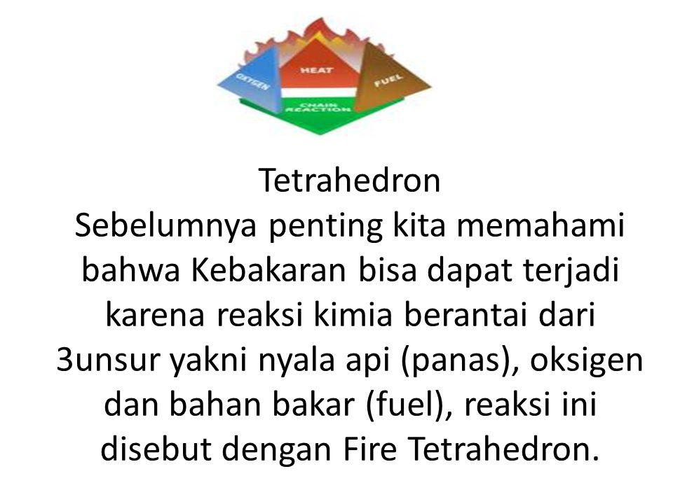 Tetrahedron Sebelumnya penting kita memahami bahwa Kebakaran bisa dapat terjadi karena reaksi kimia berantai dari 3unsur yakni nyala api (panas), oksi
