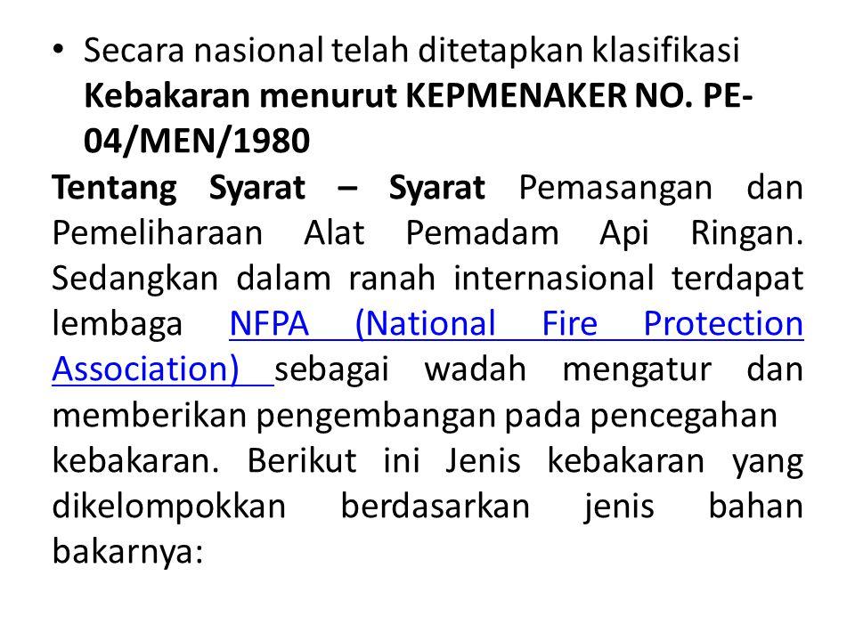 Secara nasional telah ditetapkan klasifikasi Kebakaran menurut KEPMENAKER NO. PE- 04/MEN/1980 Tentang Syarat – Syarat Pemasangan dan Pemeliharaan Alat
