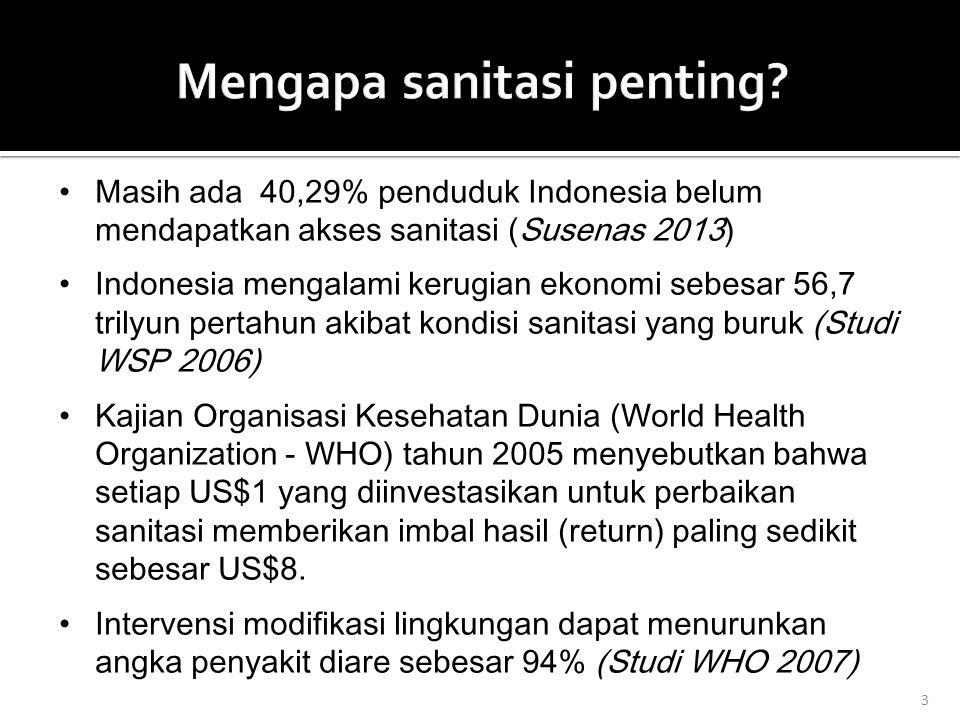 3 Masih ada 40,29% penduduk Indonesia belum mendapatkan akses sanitasi (Susenas 2013) Indonesia mengalami kerugian ekonomi sebesar 56,7 trilyun pertahun akibat kondisi sanitasi yang buruk (Studi WSP 2006) Kajian Organisasi Kesehatan Dunia (World Health Organization - WHO) tahun 2005 menyebutkan bahwa setiap US$1 yang diinvestasikan untuk perbaikan sanitasi memberikan imbal hasil (return) paling sedikit sebesar US$8.