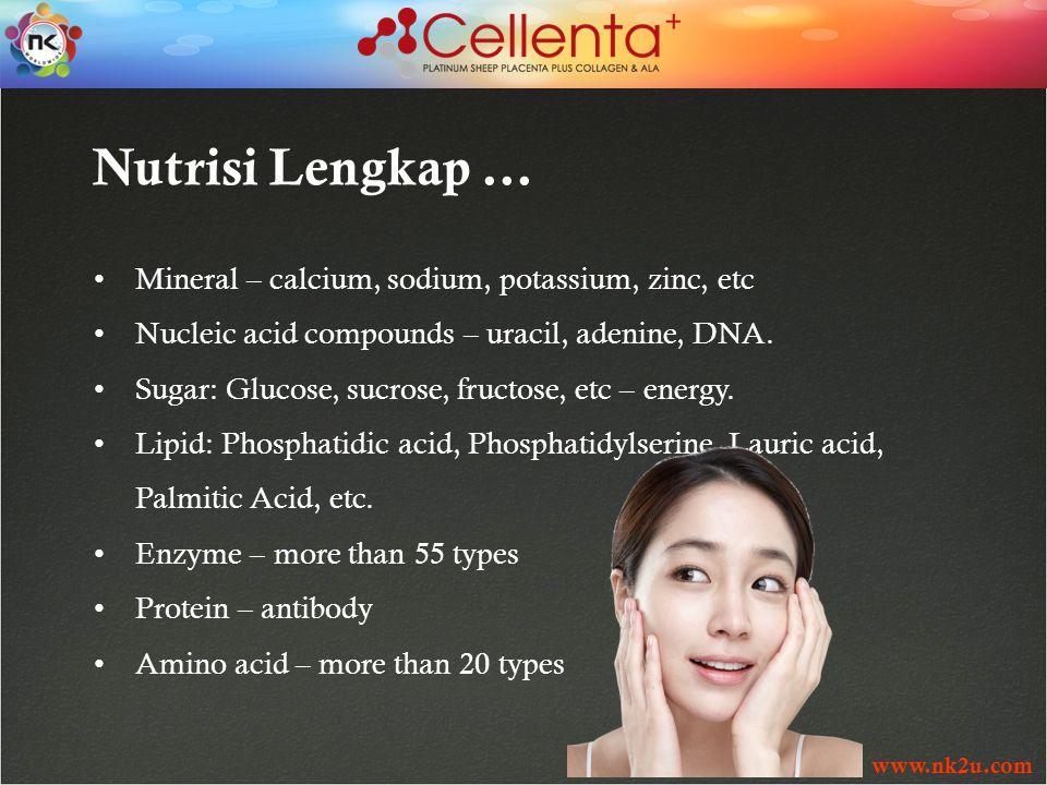 www.nk2u.com Nutrisi Lengkap … Mineral – calcium, sodium, potassium, zinc, etc Nucleic acid compounds – uracil, adenine, DNA.