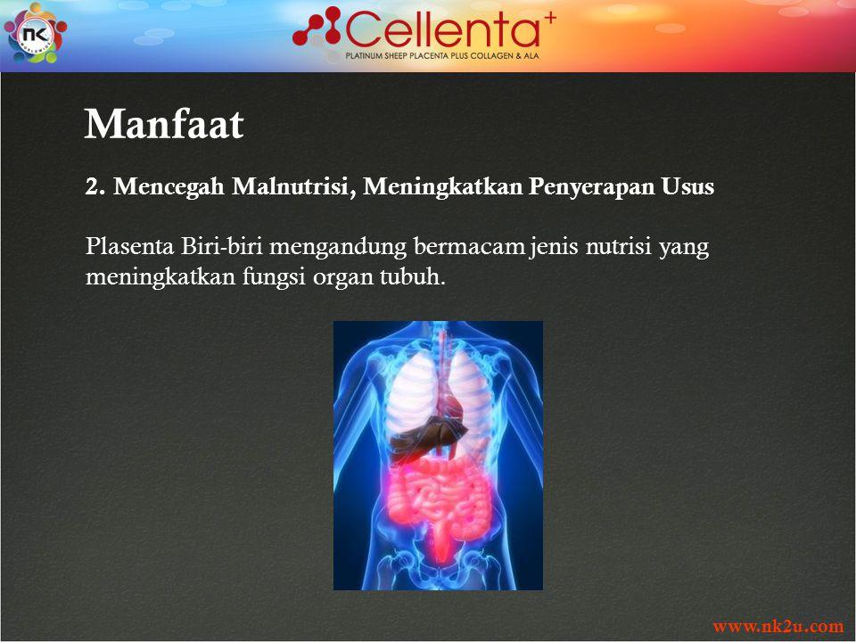 www.nk2u.com Manfaat 2. Mencegah Malnutrisi, Meningkatkan Penyerapan Usus Plasenta Biri-biri mengandung bermacam jenis nutrisi yang meningkatkan fungs
