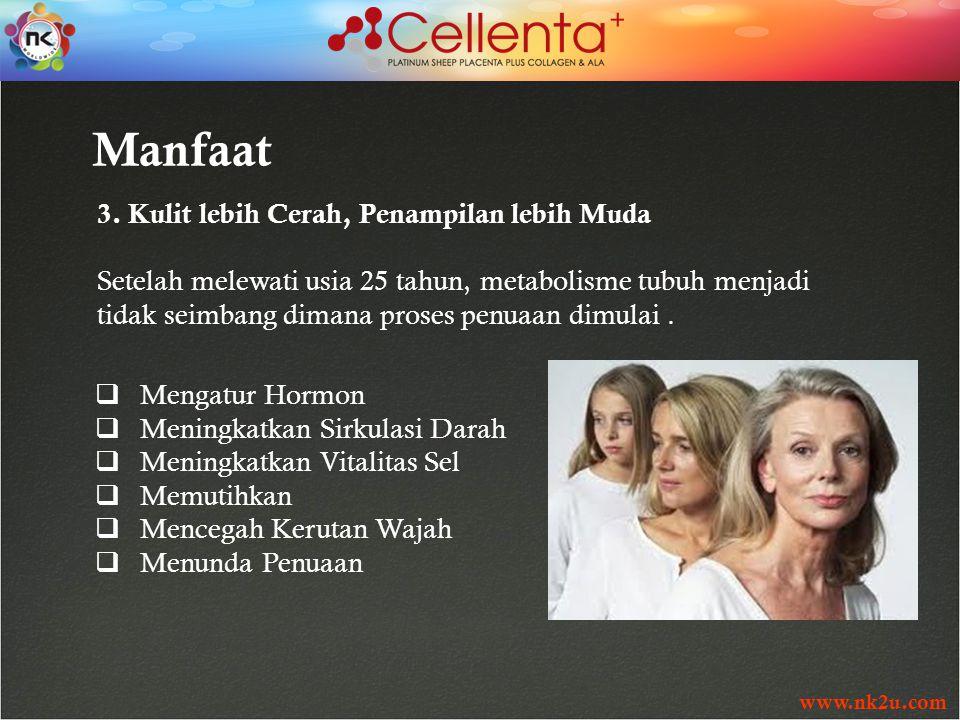 www.nk2u.com Manfaat 3. Kulit lebih Cerah, Penampilan lebih Muda Setelah melewati usia 25 tahun, metabolisme tubuh menjadi tidak seimbang dimana prose