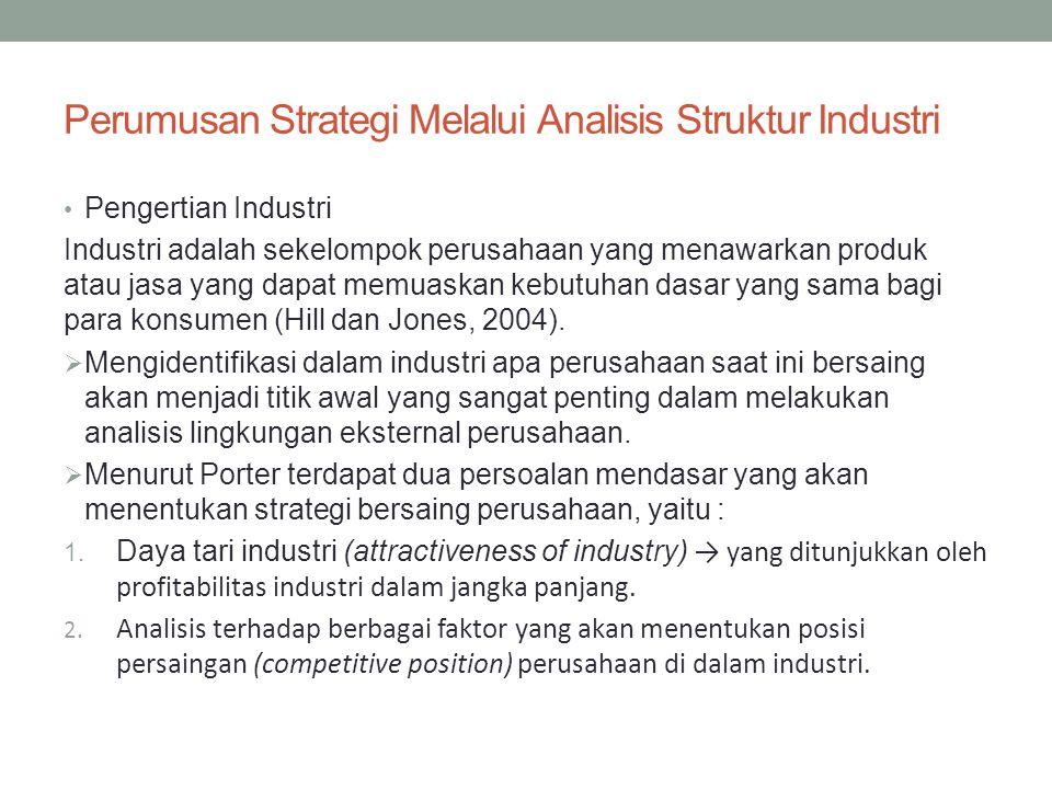 Struktur industri akan berpengaruh terhadap perumusan strategi perusahaan dan kinerja perusahaan.